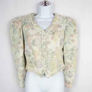 Vintage Pastel Puff Sleeve Cachet Jacket